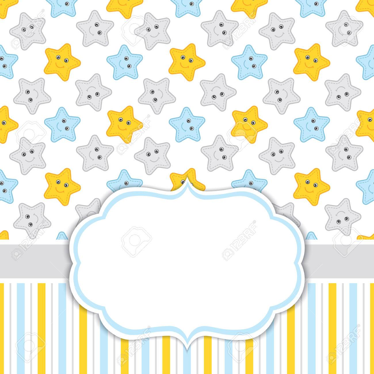 Vector Card Template For Baby Boy Shower Birthdays And Parties