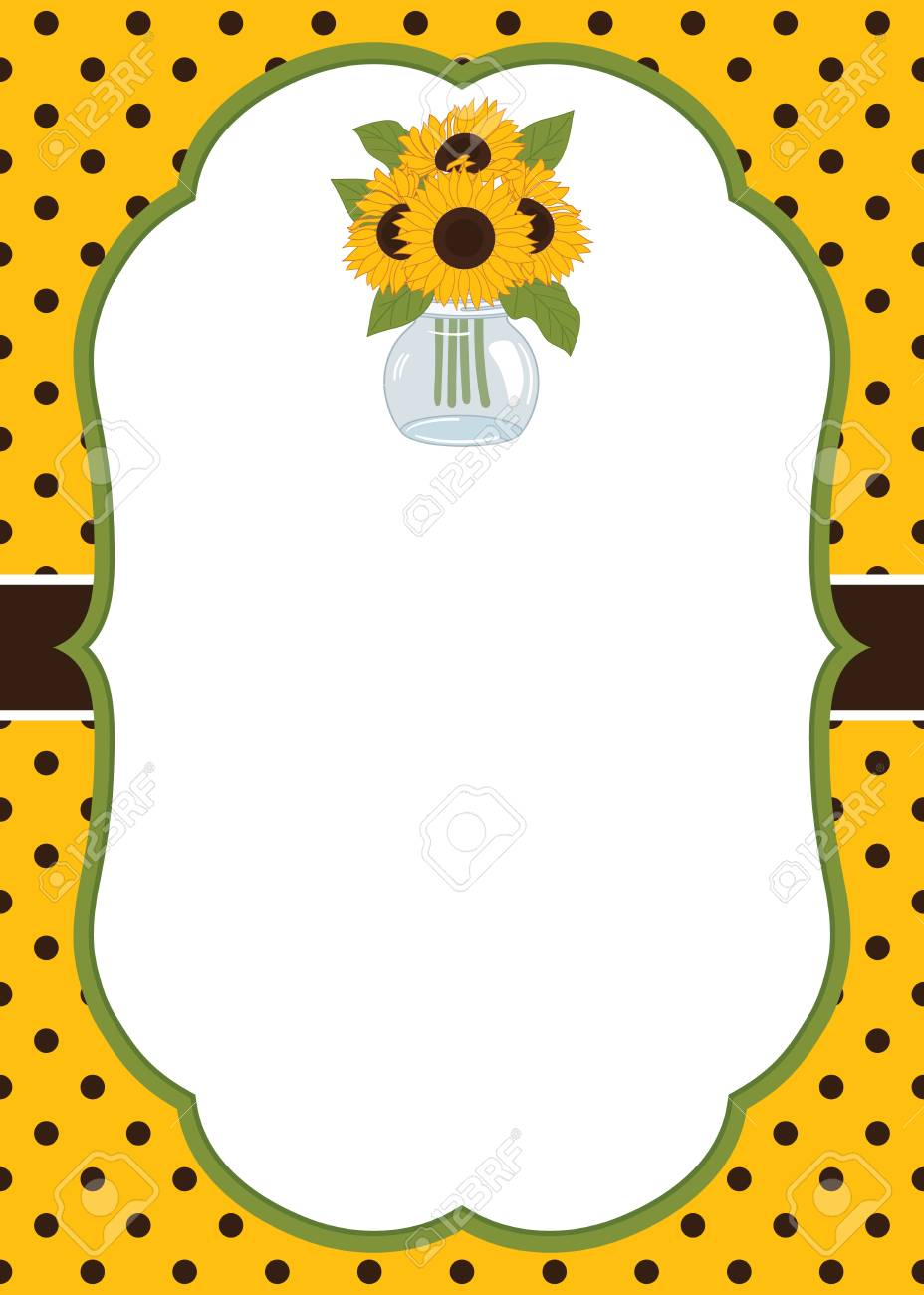 Vector Card Template With Sunflowers And Mason Jar. Card Template ...