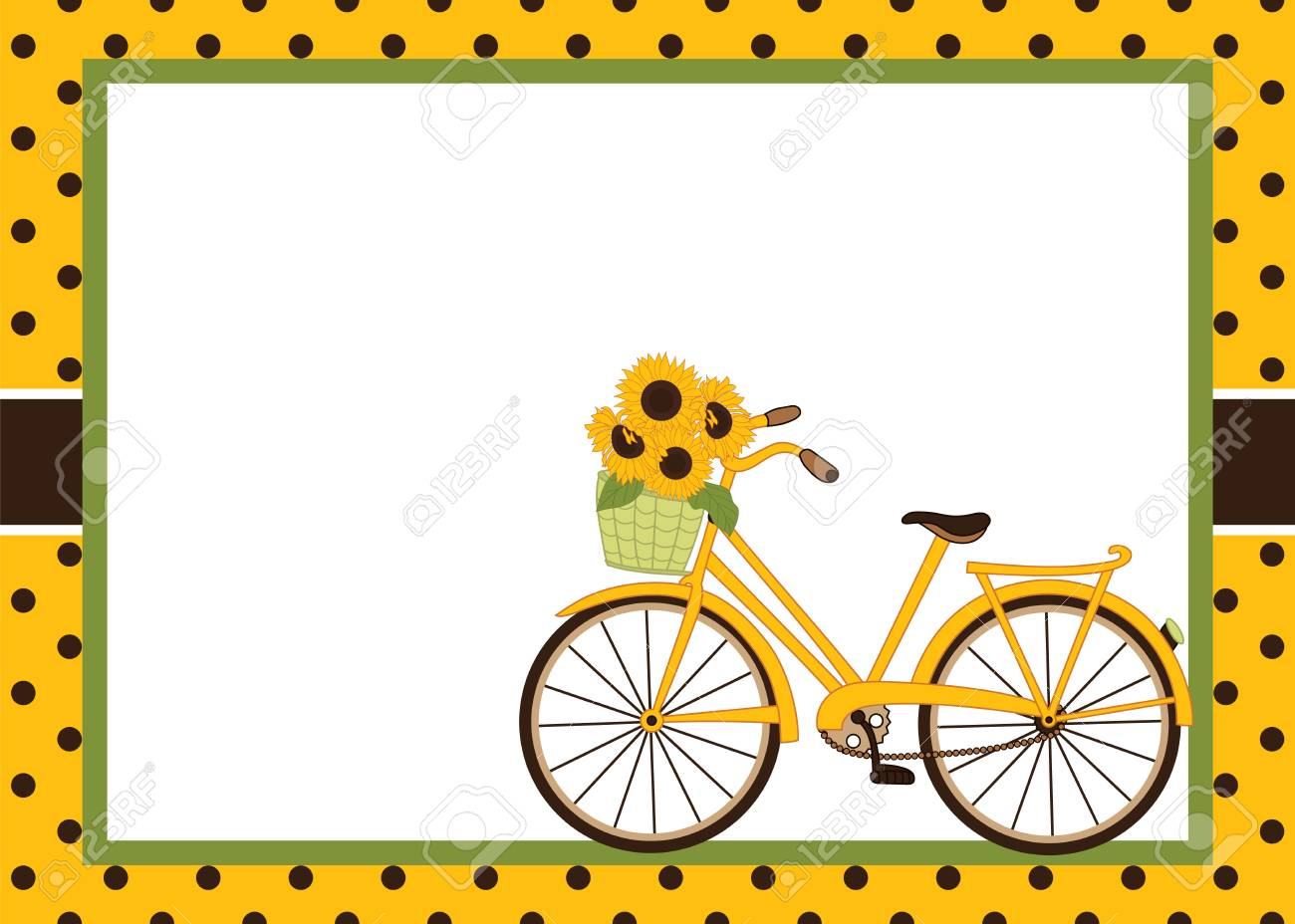 5b341c740370 Vector - Vector card template with bicycle and sunflowers. Card template  for bridal shower