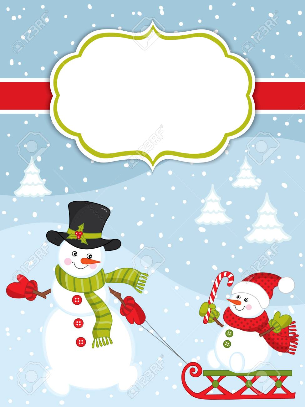 vector vector christmas and new year card template with cute snowmen on snow background christmas and new year card template with space for your text