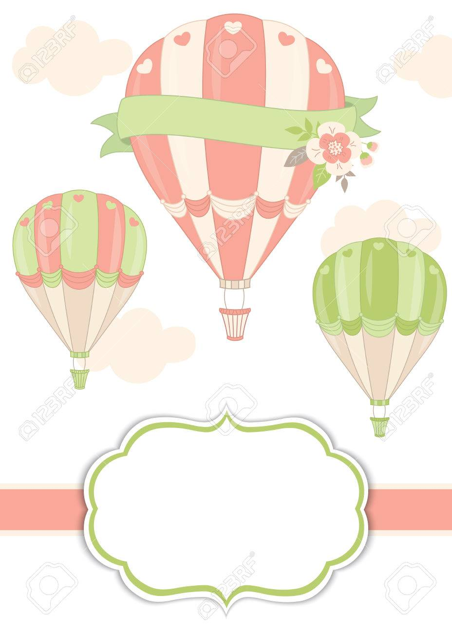 Vector Card Template With Air Balloons In Pastel Color