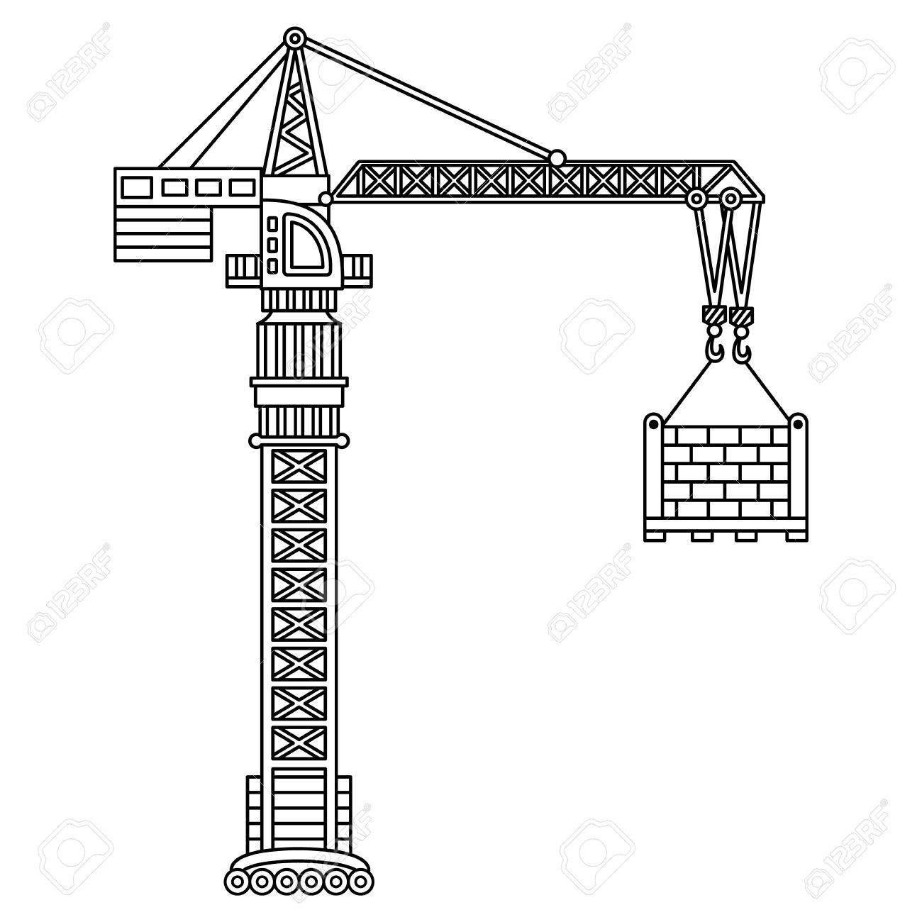 vector construction crane construction machine vector crane Mobile Crane Diagram vector construction crane construction machine vector crane stock vector 81054797