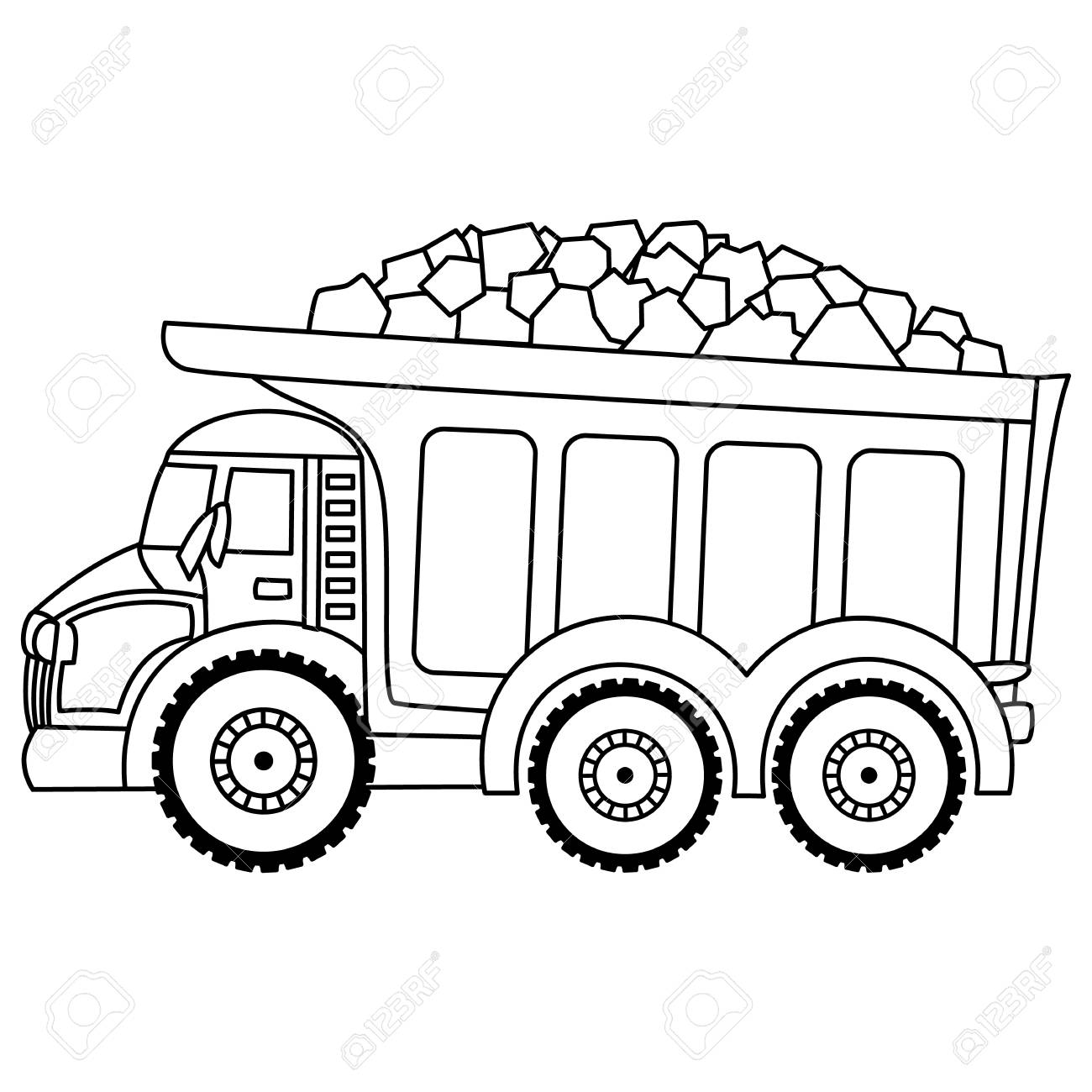 Vector vector dump truck vector construction transport black and white vector truck
