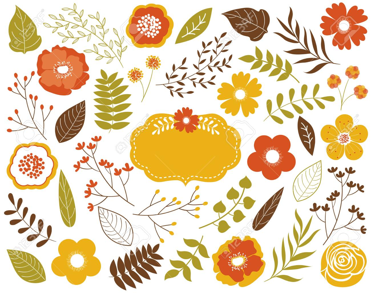 vector autumn floral set with leaves, flowers, berries and frame... royalty  free cliparts, vectors, and stock illustration. image 81054110.  123rf