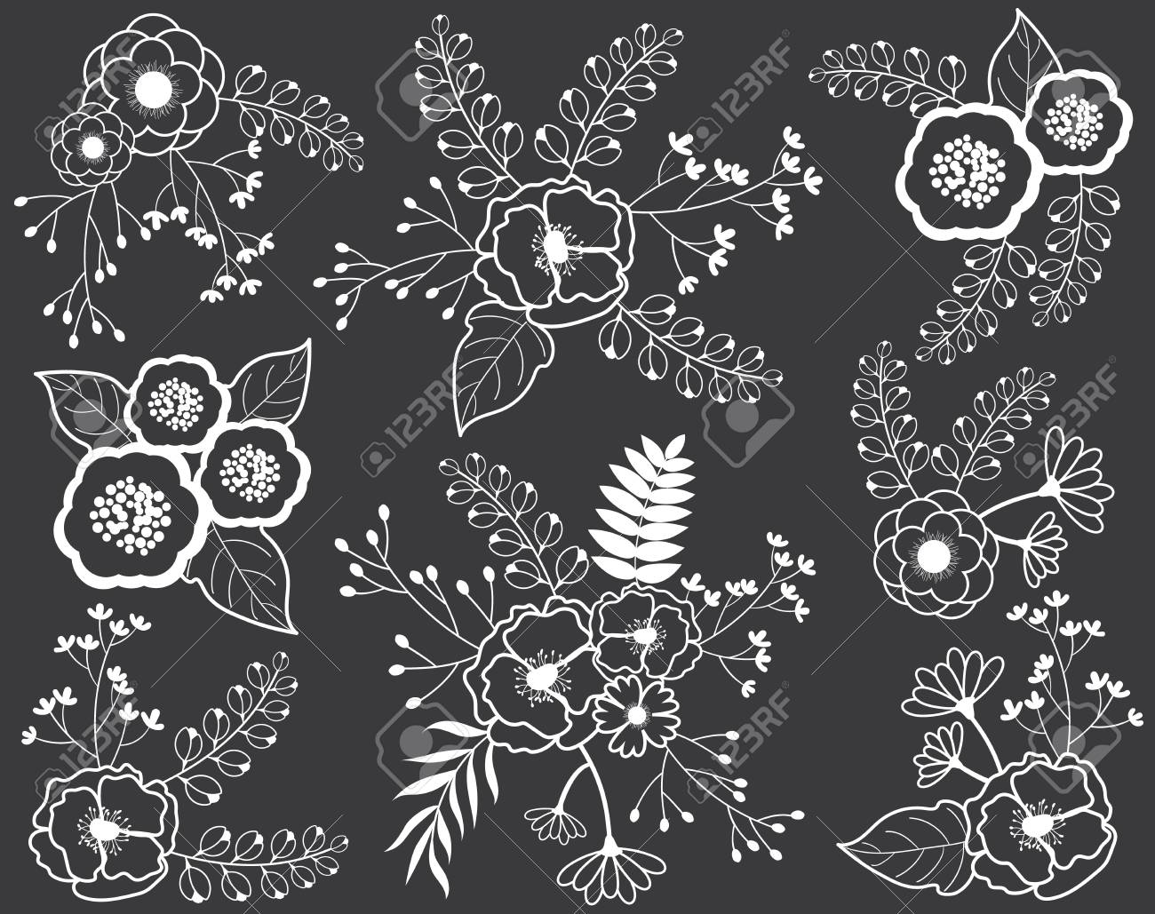 Vector floral bouquets on chalkboard black and white flowers vector vector floral bouquets on chalkboard black and white flowers on blackboard background chalk flowers and bouquets vector illustration mightylinksfo