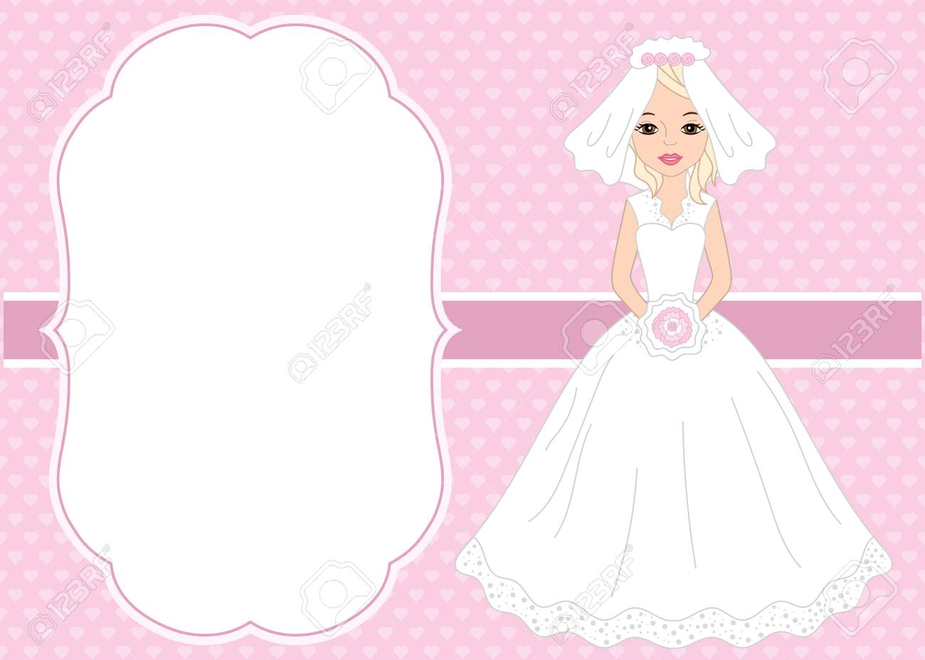 Vector Card Template With A Beautiful Bride On Hearts Background