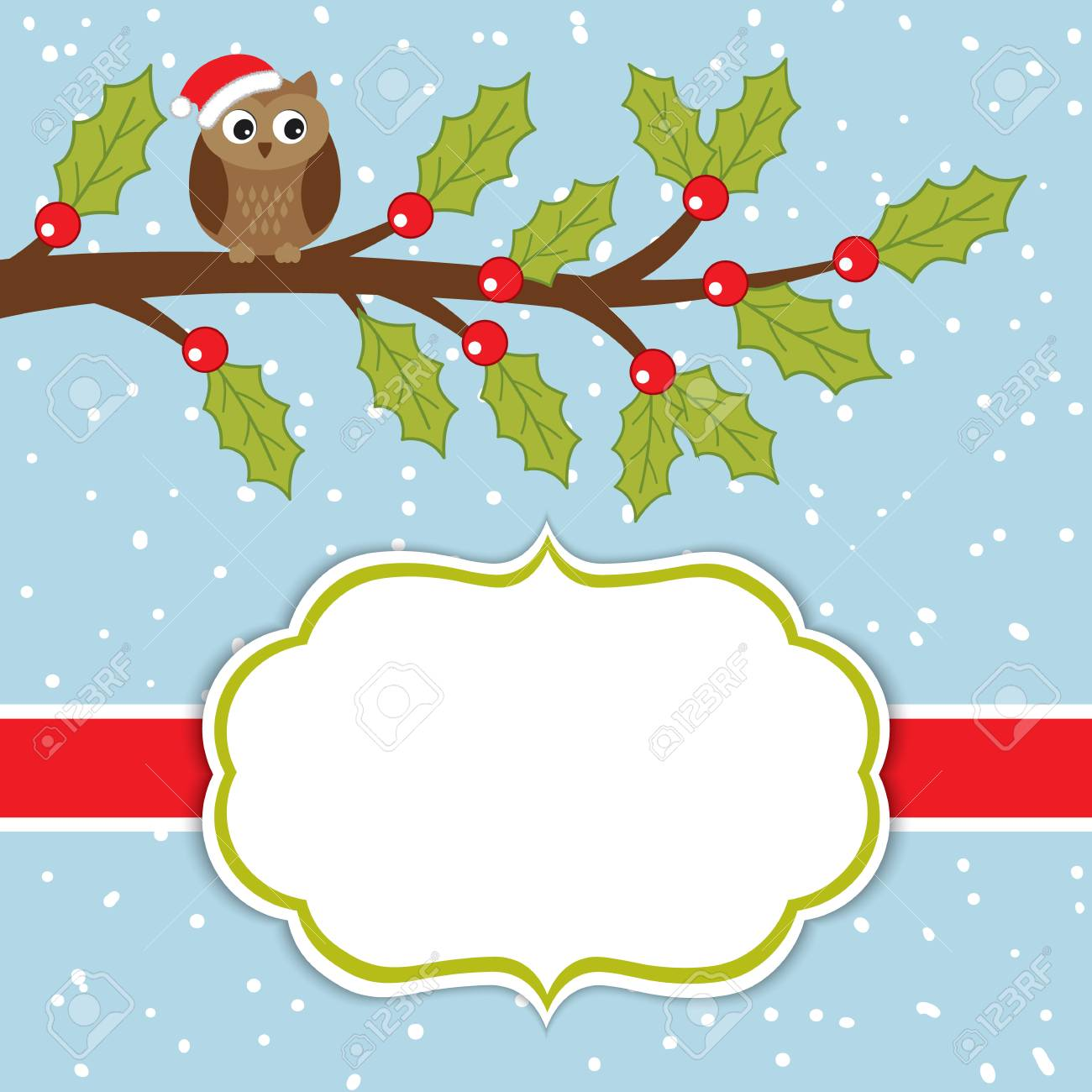 vector vector christmas and new year card template with cute owl on the branch and holly on snow background christmas and new year card template with