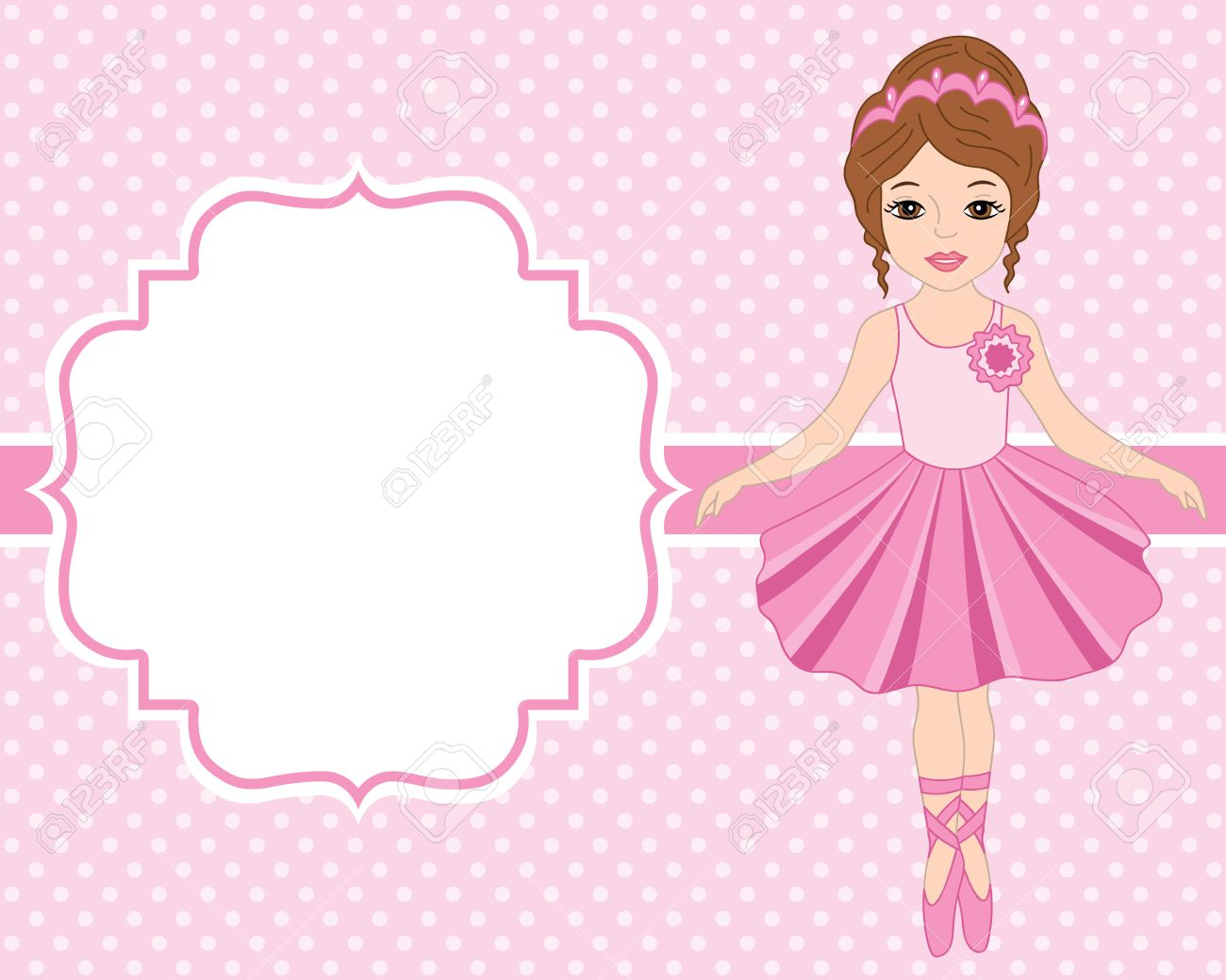 vector card template with ballerina on polka dot background