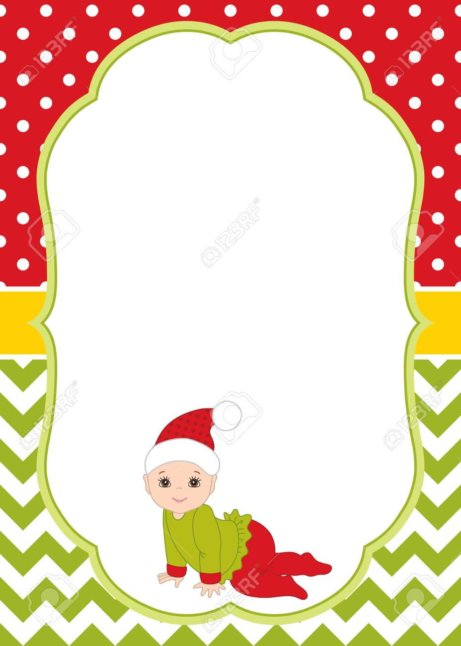 vector vector christmas and new year card template with cute baby on chevron and polka dot background christmas and new year card template for baby
