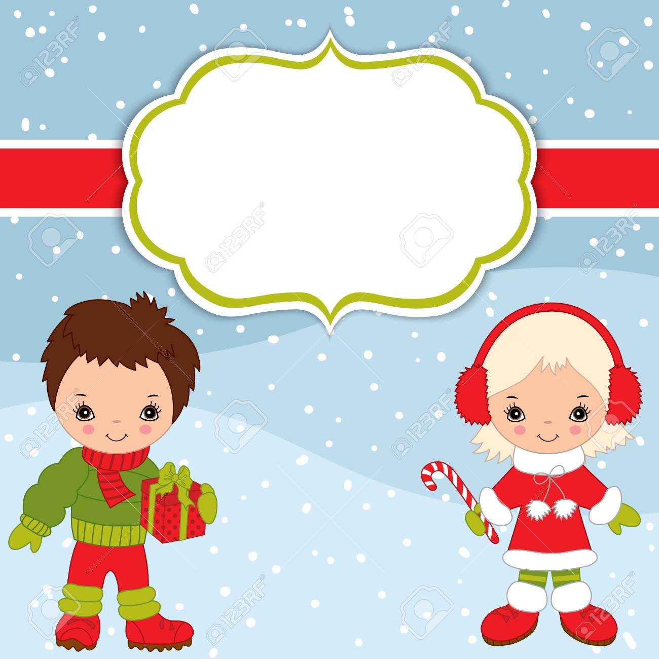 81004558 vector christmas and new year card template with cute little kids on snow background christmas and njpg