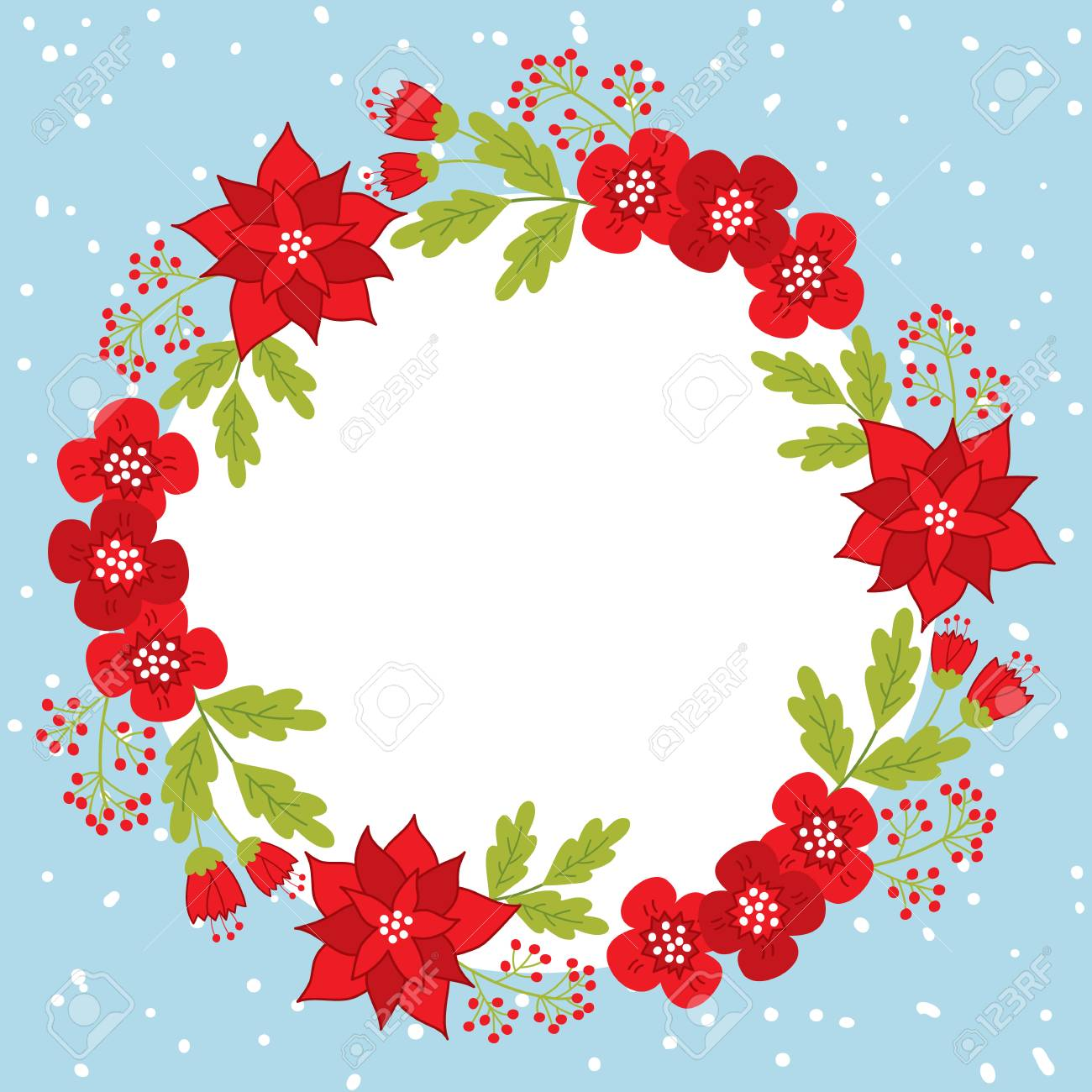 vector vector christmas and new year card template with wreath on snow background vector floral wreath with poinsettia and red berries