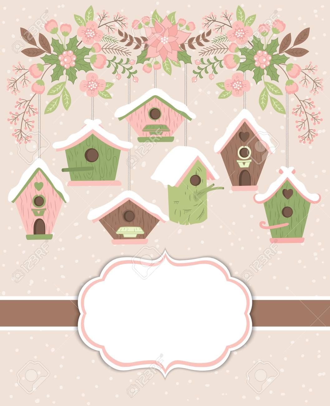 vector vector christmas and new year card template with birdhouses and floral branch on pastel background card template for christmas and new year with