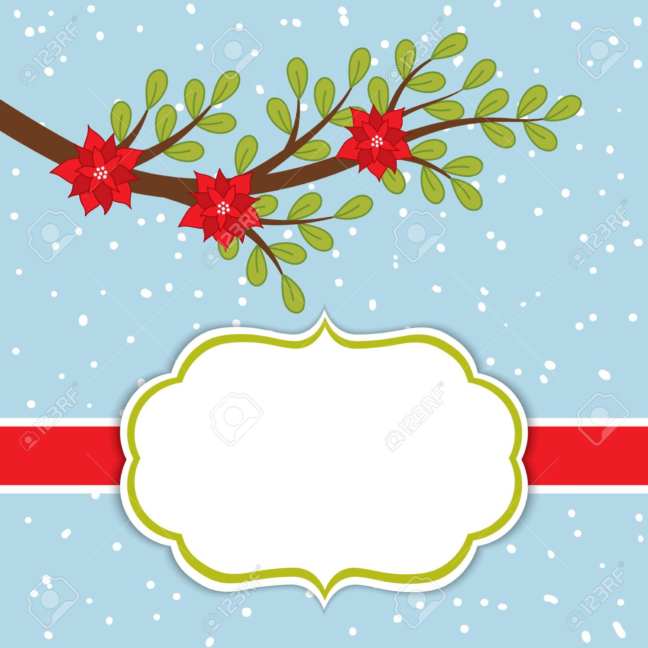 vector vector christmas and new year card template with poinsettia and branch on snow background card template for christmas and new year with space for