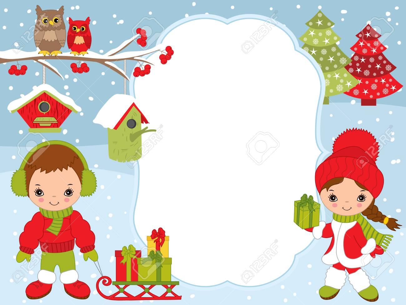 Vector Christmas And New Year Card Template With Cute Little