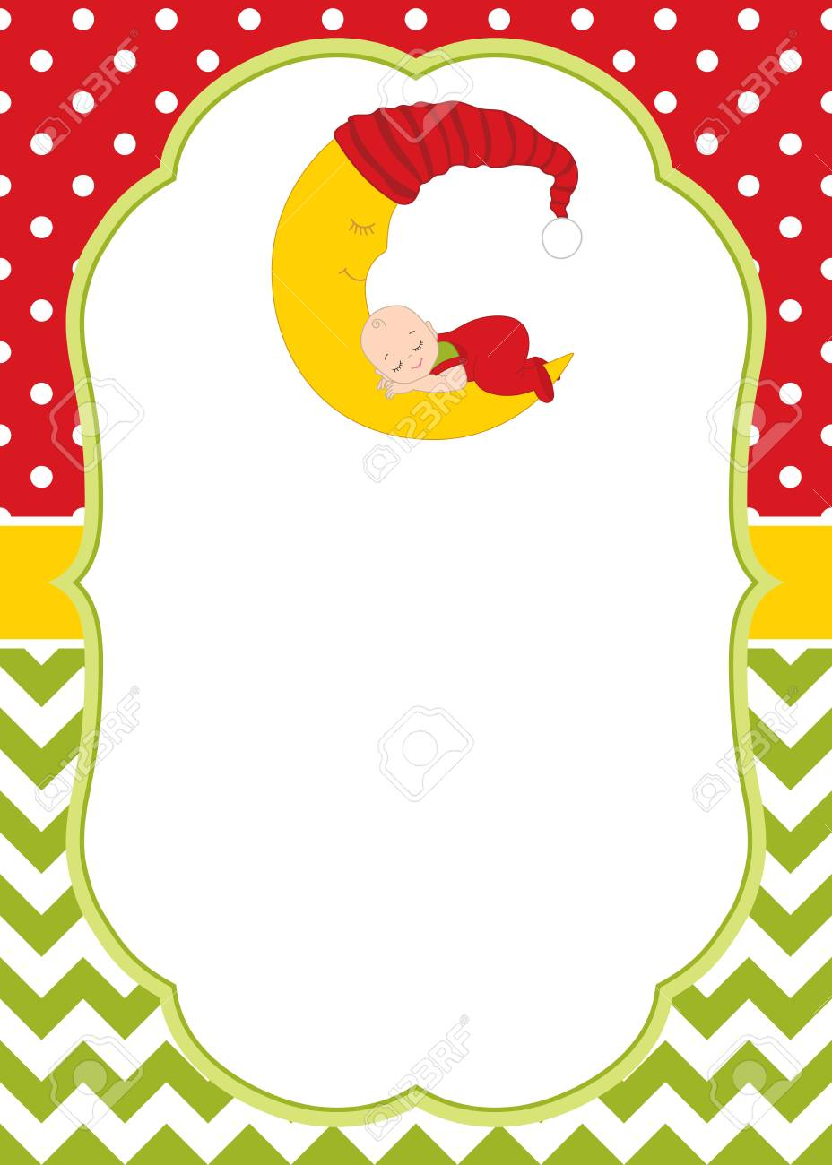vector vector christmas and new year card template with cute baby boy sleeping on the moon christmas and new year card template for baby shower