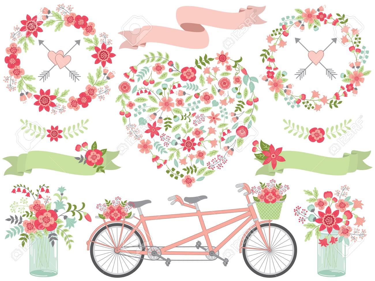 Vector Romantische Set Beinhaltet Blumen Herz Tandem Kranz Blumen