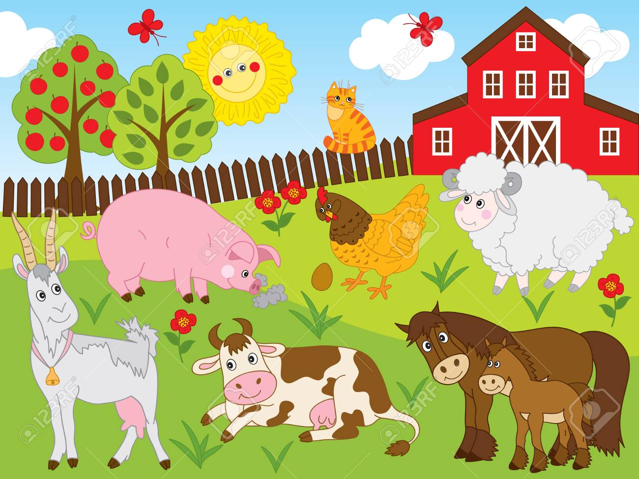 Vector Set Includes Farm Animals