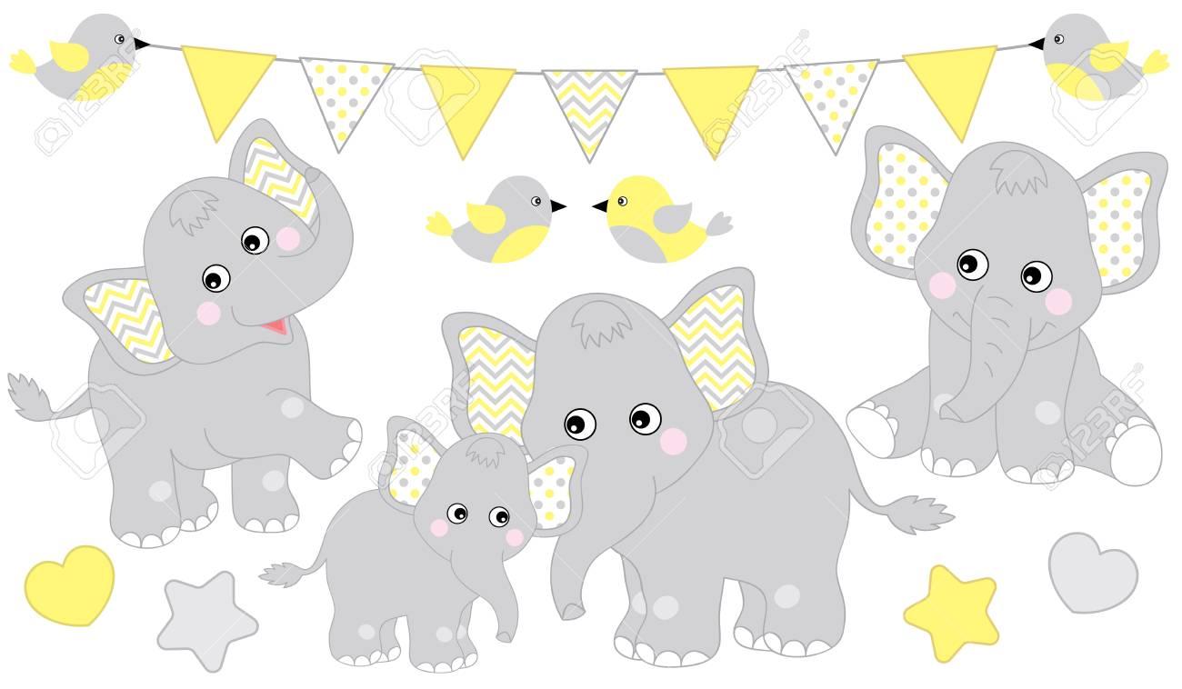 Cute Elephants Set Vector Elephant Illustration For Baby Shower