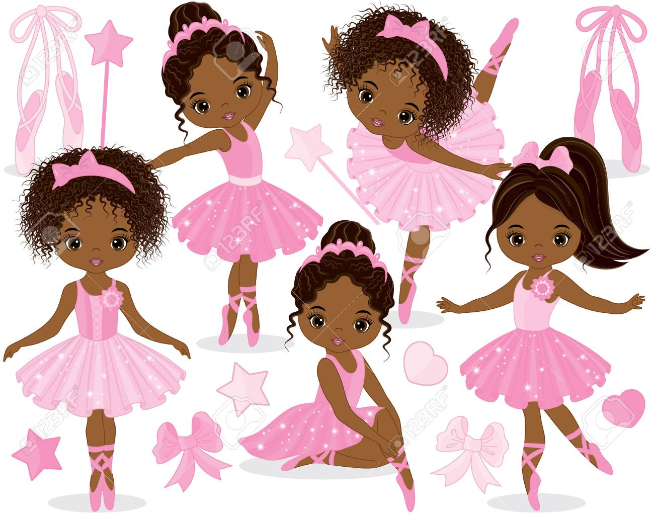 Vector set with cute little African American ballerinas, bows and ballet shoes. Vector ballerinas in pink tutu dresses. African American ballerinas vector illustration - 82915868
