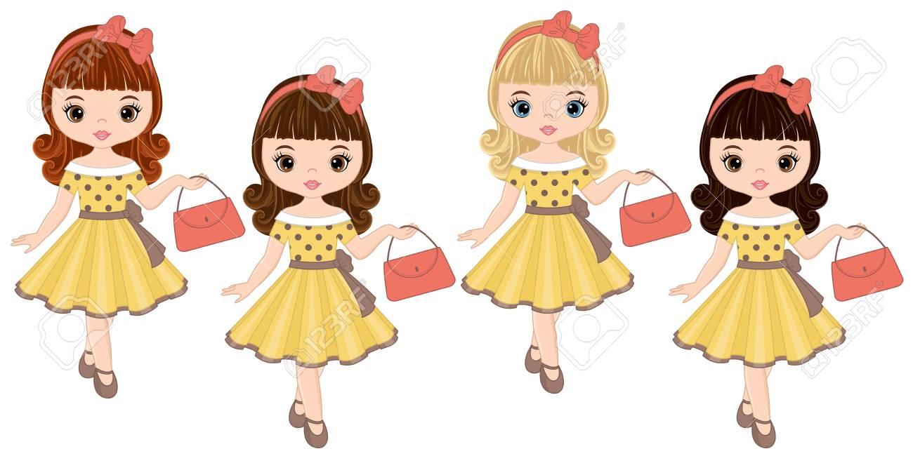 0bbaff0cf Vector a las niñas lindas con varios colores de pelo en estilo retro.  Ilustración de vector de chicas Pin-up