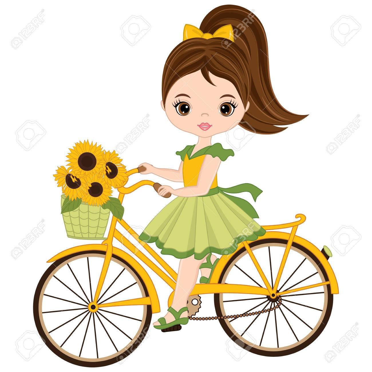 自転車に乗るかわいい女の子をベクトルしますヒマワリのバスケットを