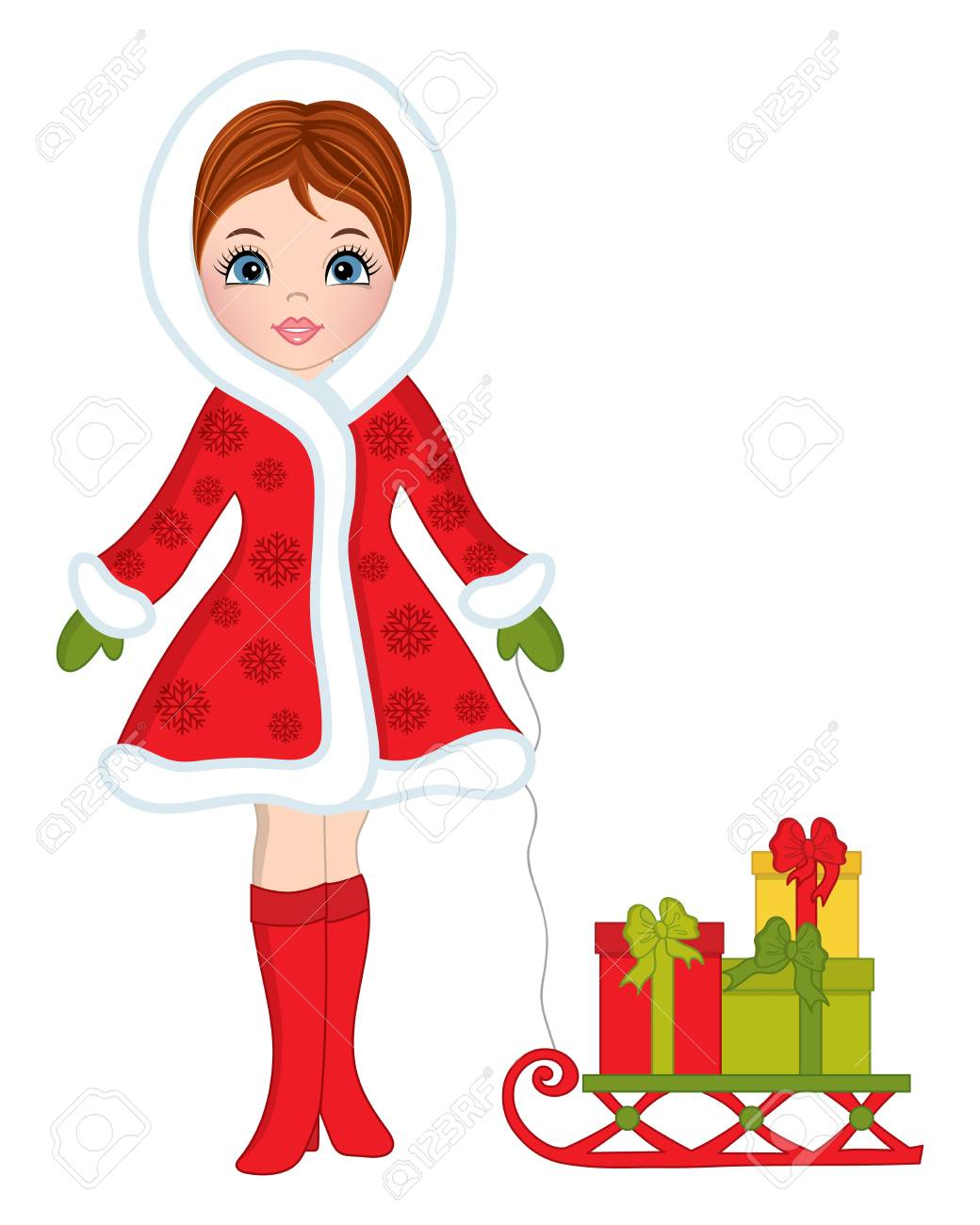 vector vector beautiful young girl in red coat with sledge and christmas gifts christmas girl vector illustration