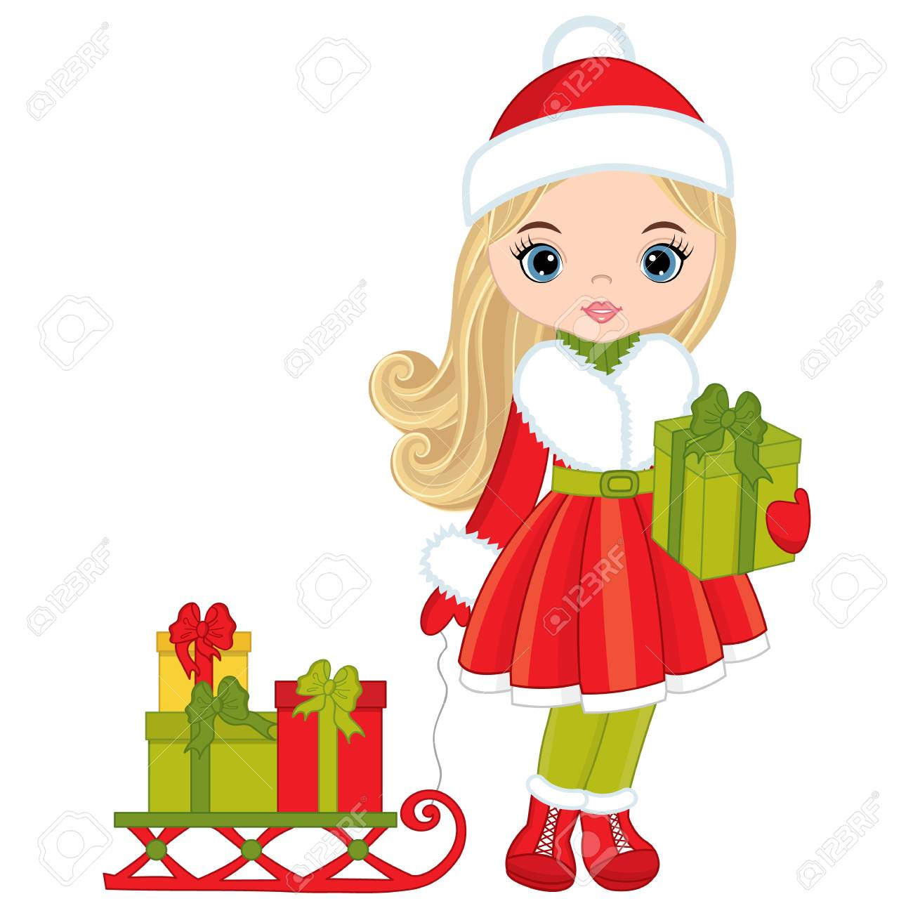 Vector Cute Little Girl With Christmas Gifts. Vector Cartoon ...