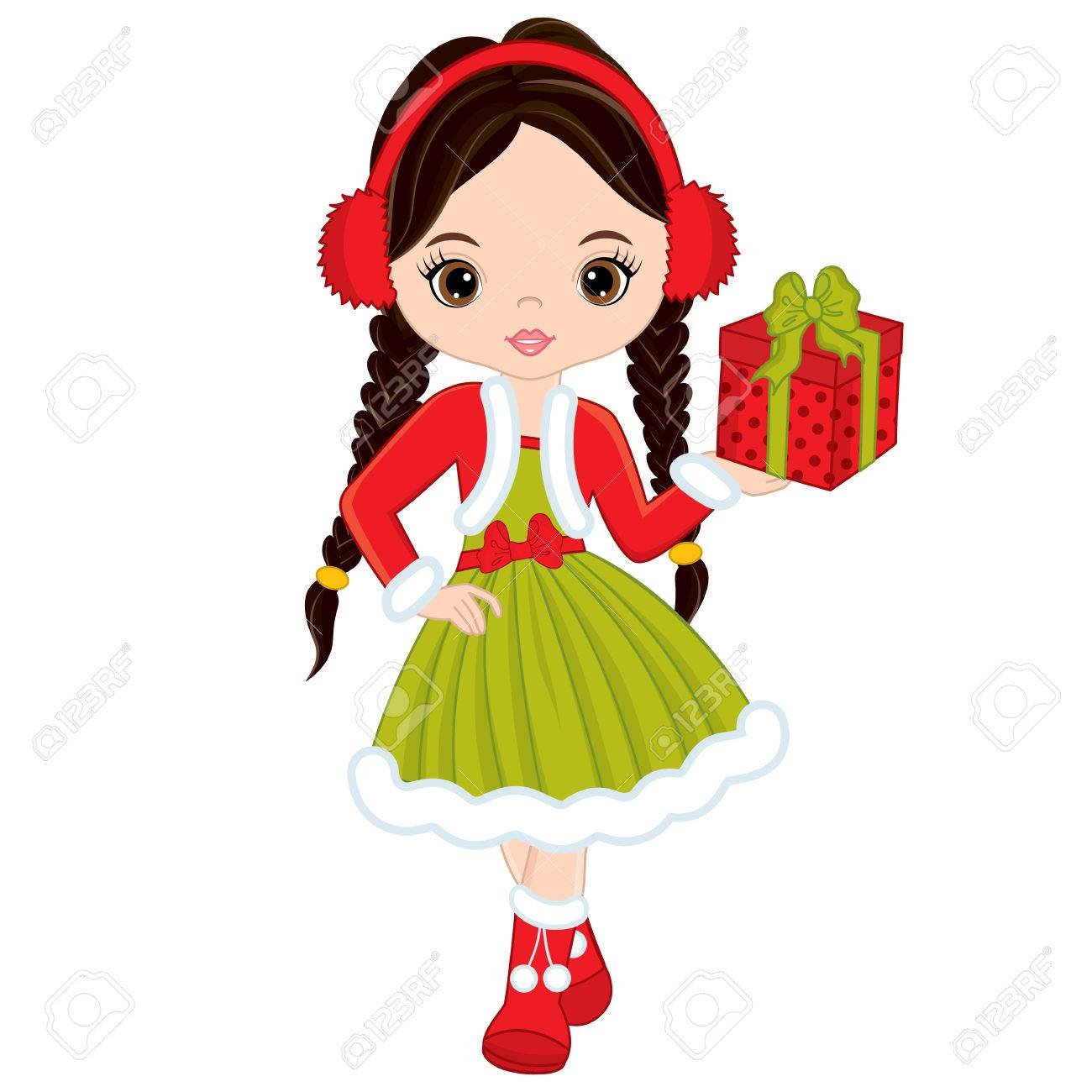 Vector Cute Little Girl With Christmas Gift. Christmas Girl Vector ...