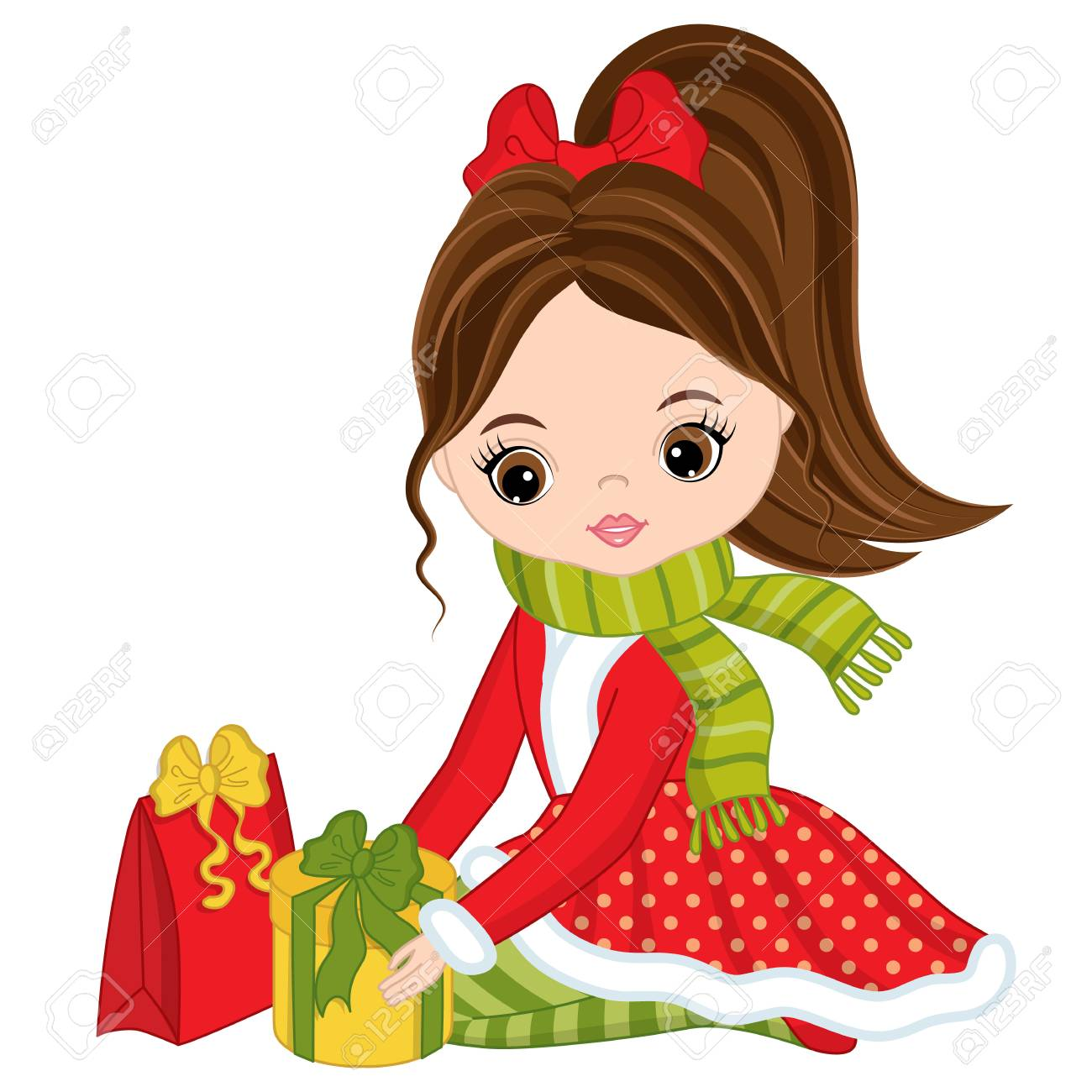 Vector Cute Little Girl With Christmas Gifts. Christmas Girl ...