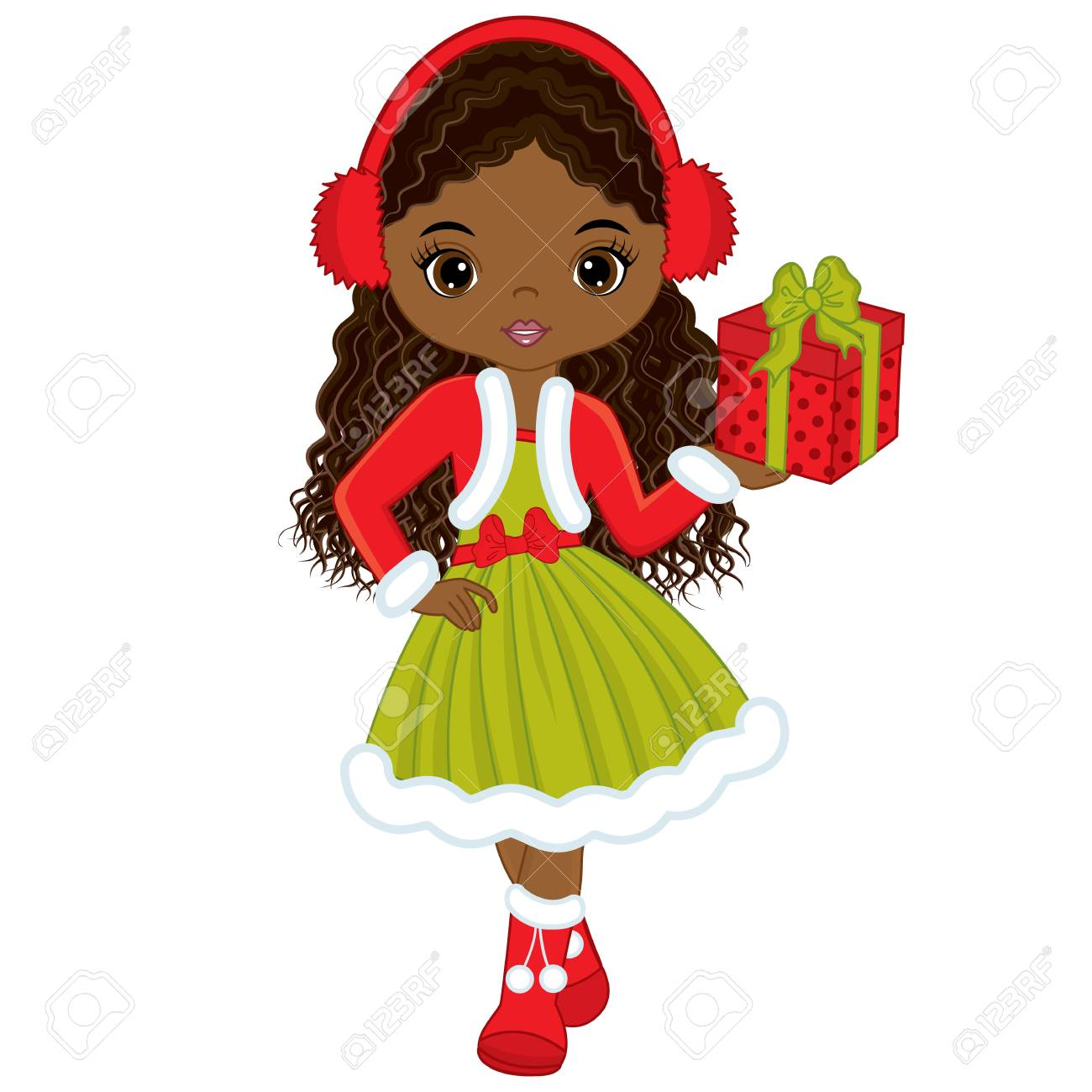 Vector Cute Little African American Girl With Christmas Gift ...