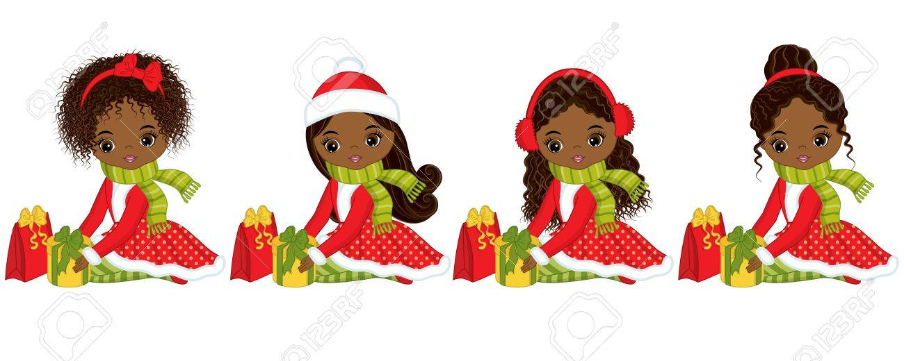 African Christmas.Vector Cute Little African American Girls With Christmas Gifts