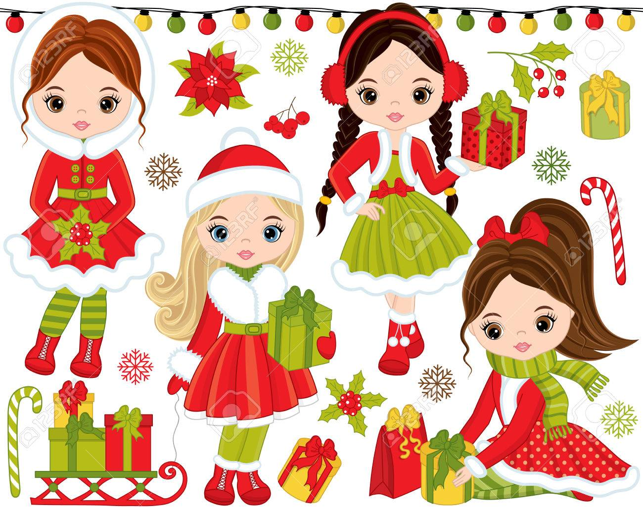 Vector Christmas And New Year Set. Set Includes Cute Little Girls ...