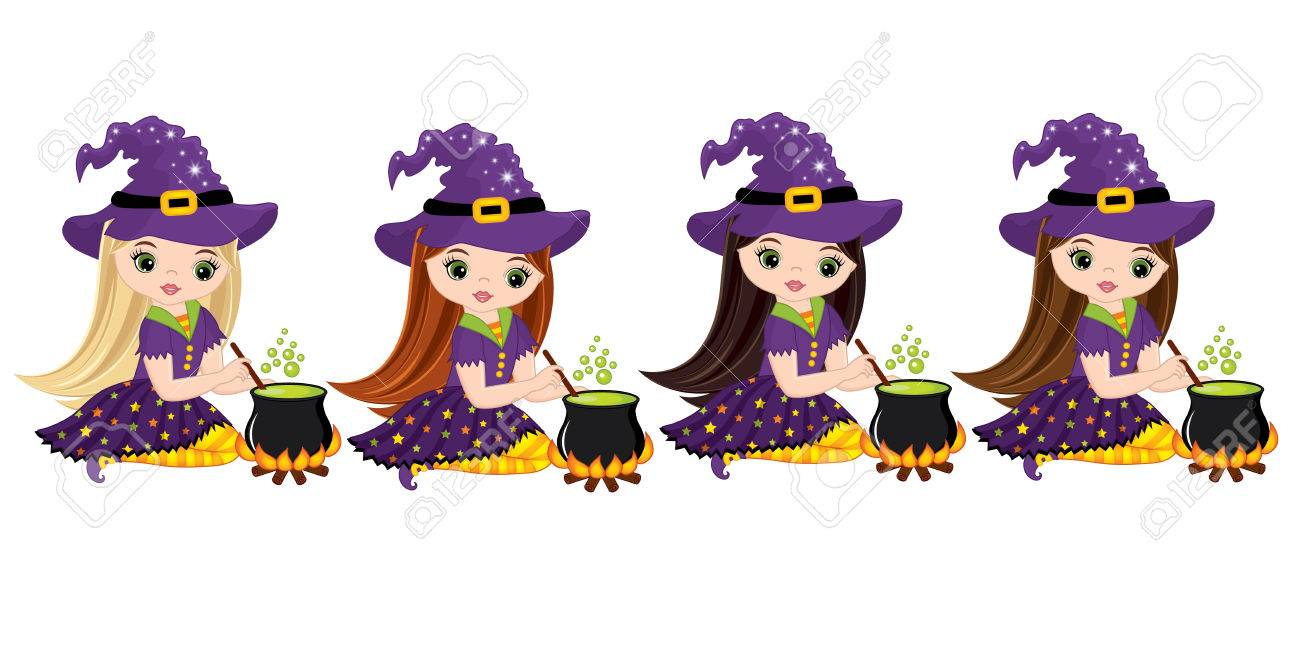 Vector Cute Little Witches Cooking Magic Potion In Cauldrons ...
