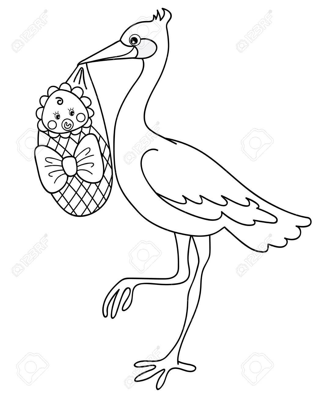 Black And White Stork Holding A Cute Baby Stork Baby Shower