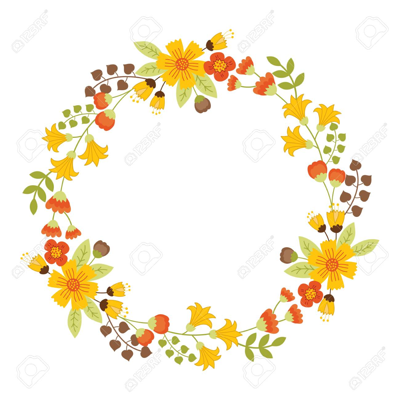 Autumn Floral Wreath With Yellow Flowers Green And Brown Leaves