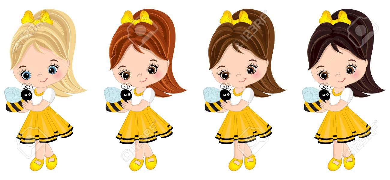 0a5136c3a Vector niñas lindas con varios colores de pelo. Niñas vestidas de estilo  abeja. Niñas ilustración vectorial