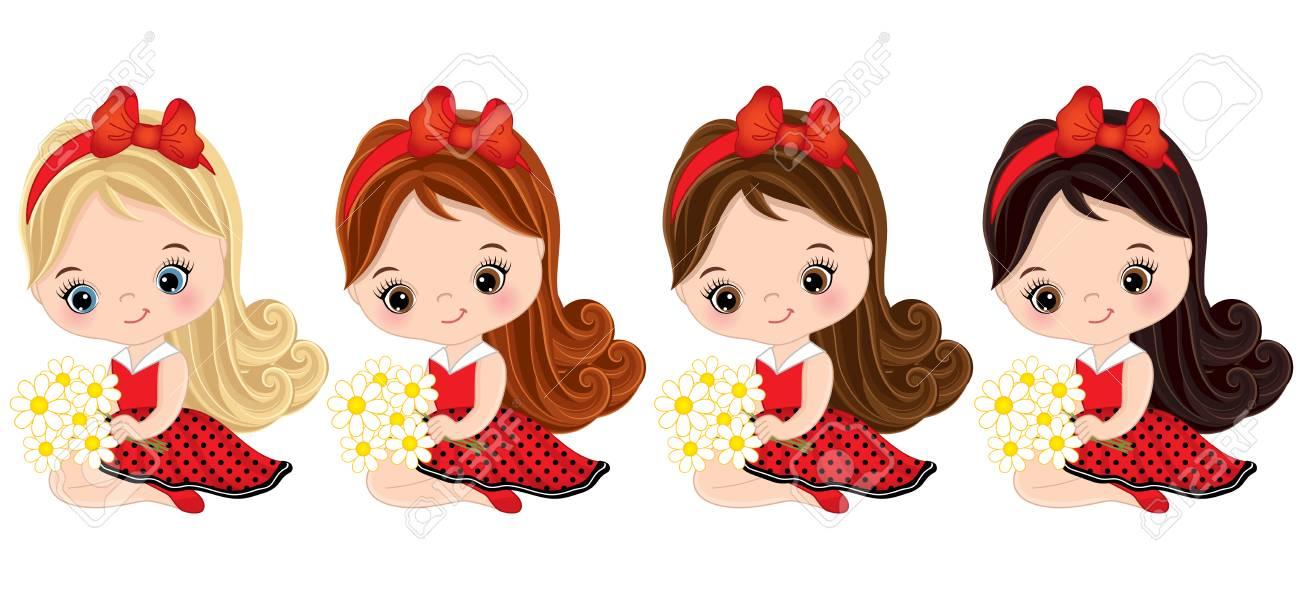 cff7bfa07 Vector lindo niñas con diferentes colores del cabello . niñas vestidos con  estilo de la mariquita . ilustración del vector de niñas