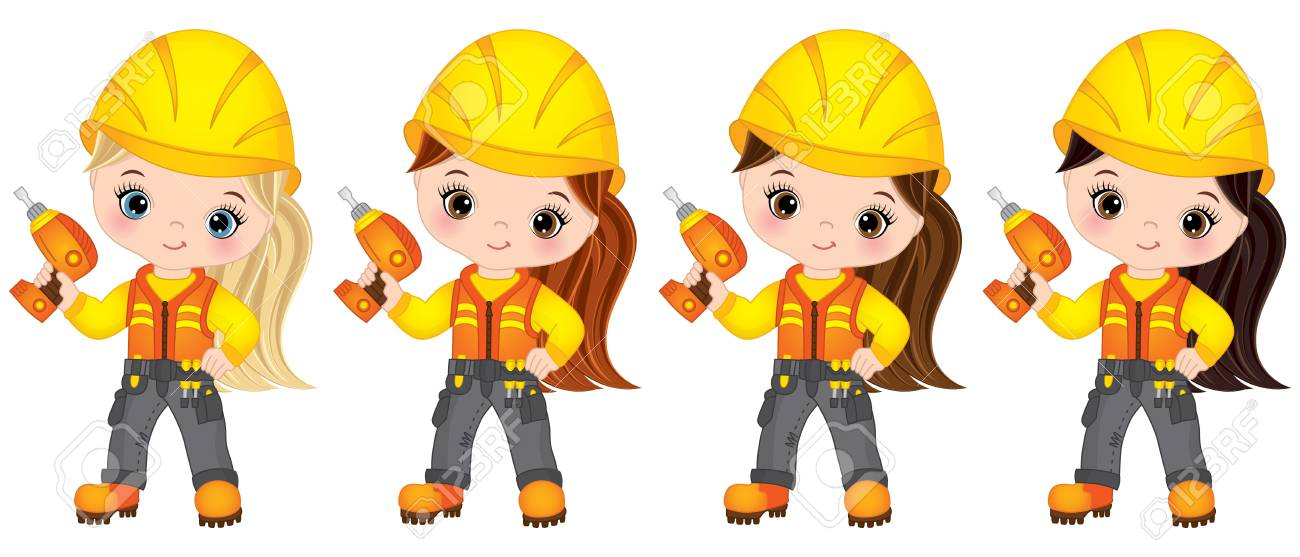 Vector Cute Little Girls Drilling. Vector Little Girls With ...