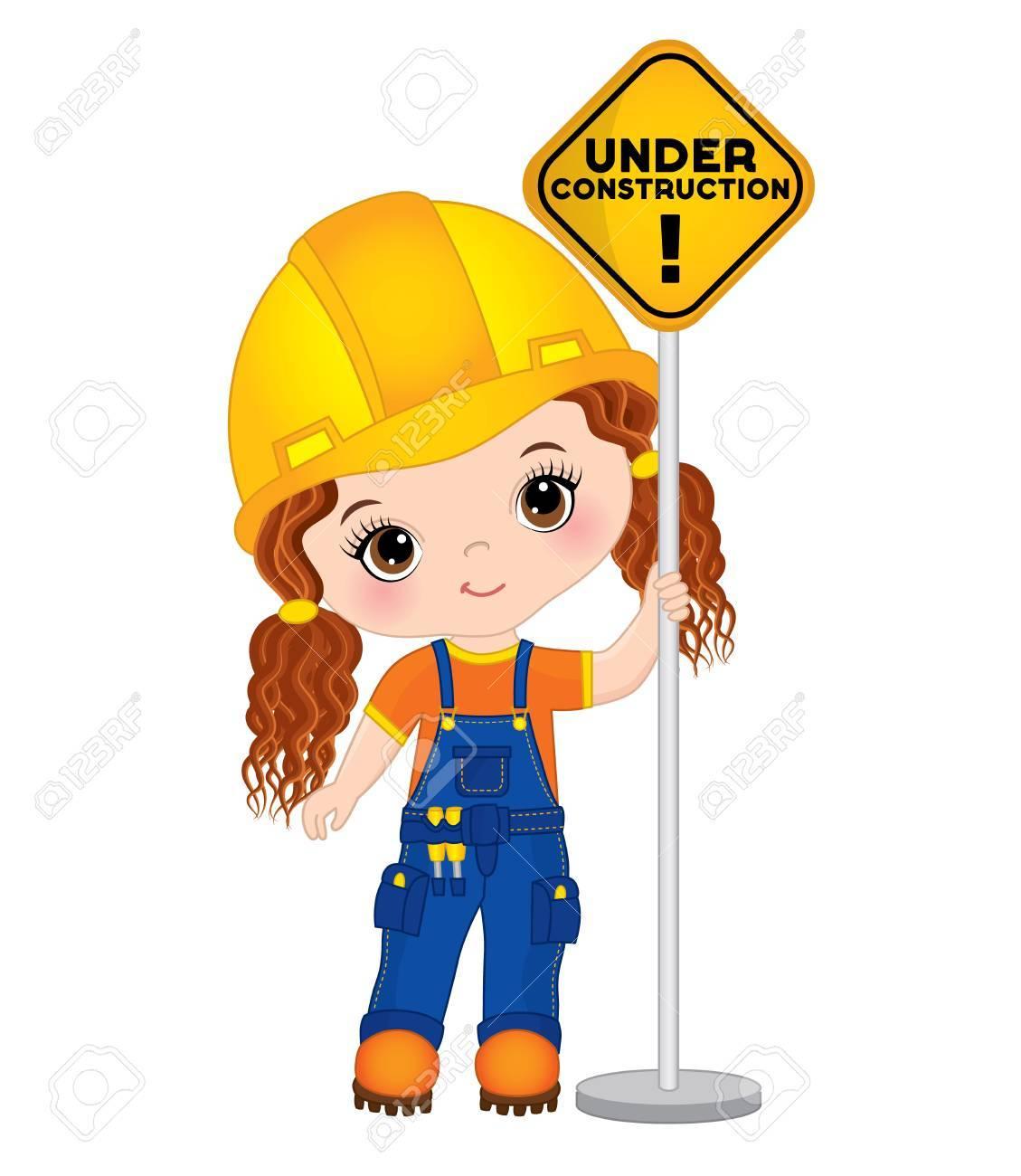 vector cute little girl holding the sign under construction rh 123rf com