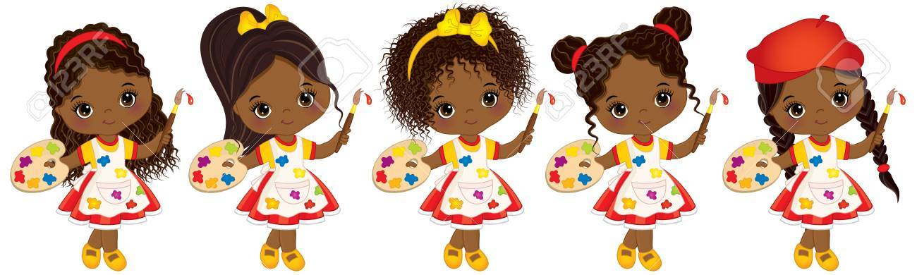 Vector cute little African American girls with various hairstyles...