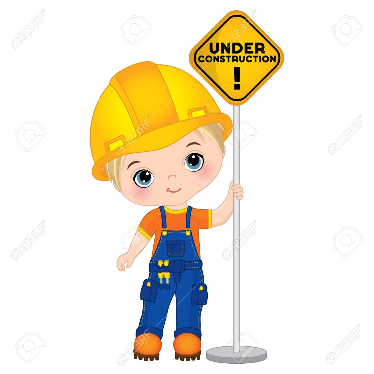vector cute little boy holding the sign under construction rh 123rf com vektor builders international llc vektor builders international fort collins