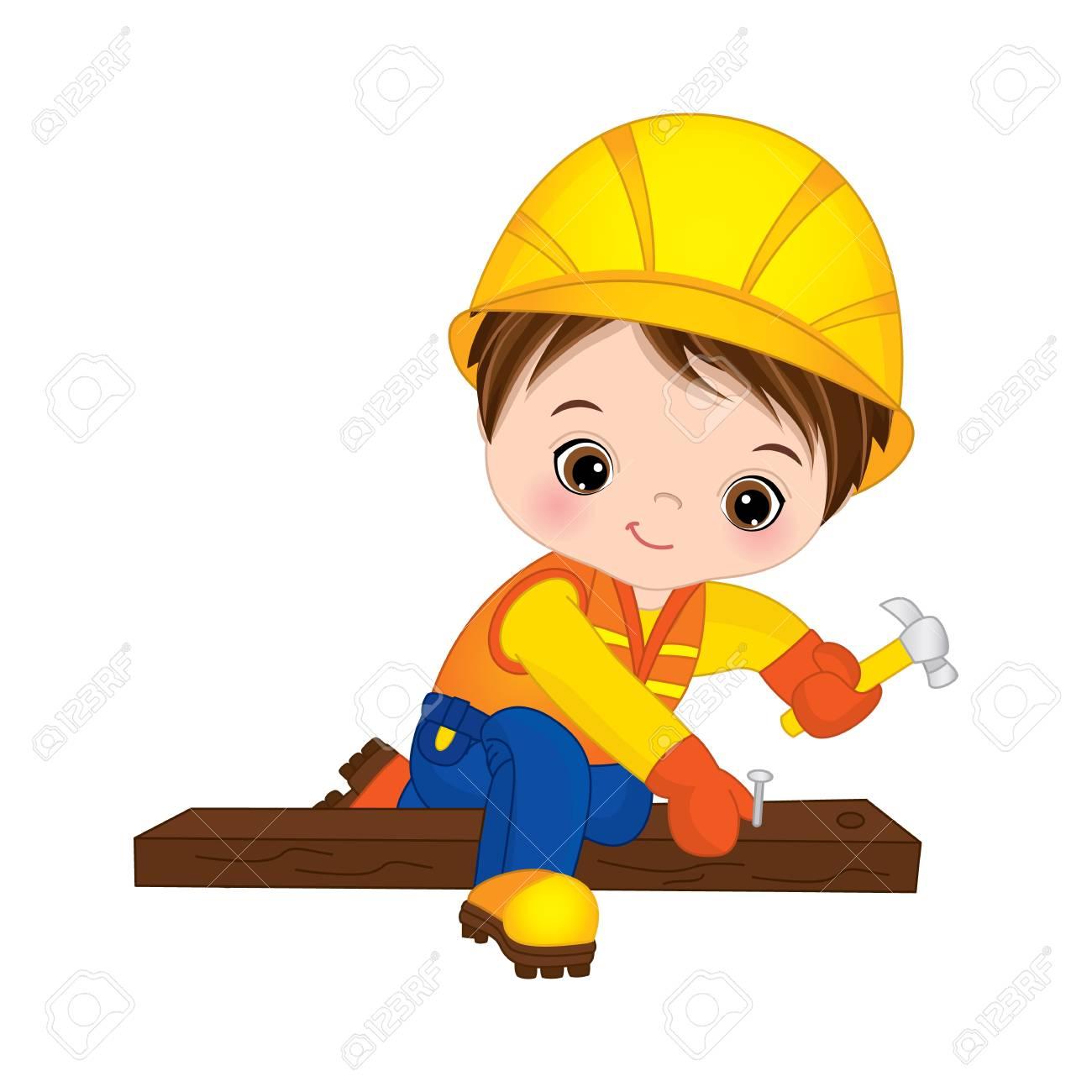 vector cute little boy hammering nails vector construction rh 123rf com vektor builders international fort collins vektor builders international llc