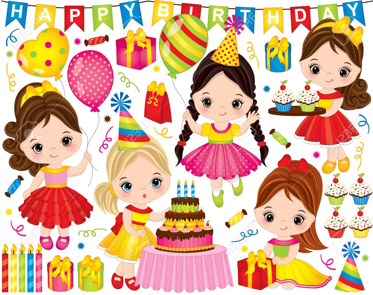 Vector Birthday Set Set Includes Cute Little Girls With Cake