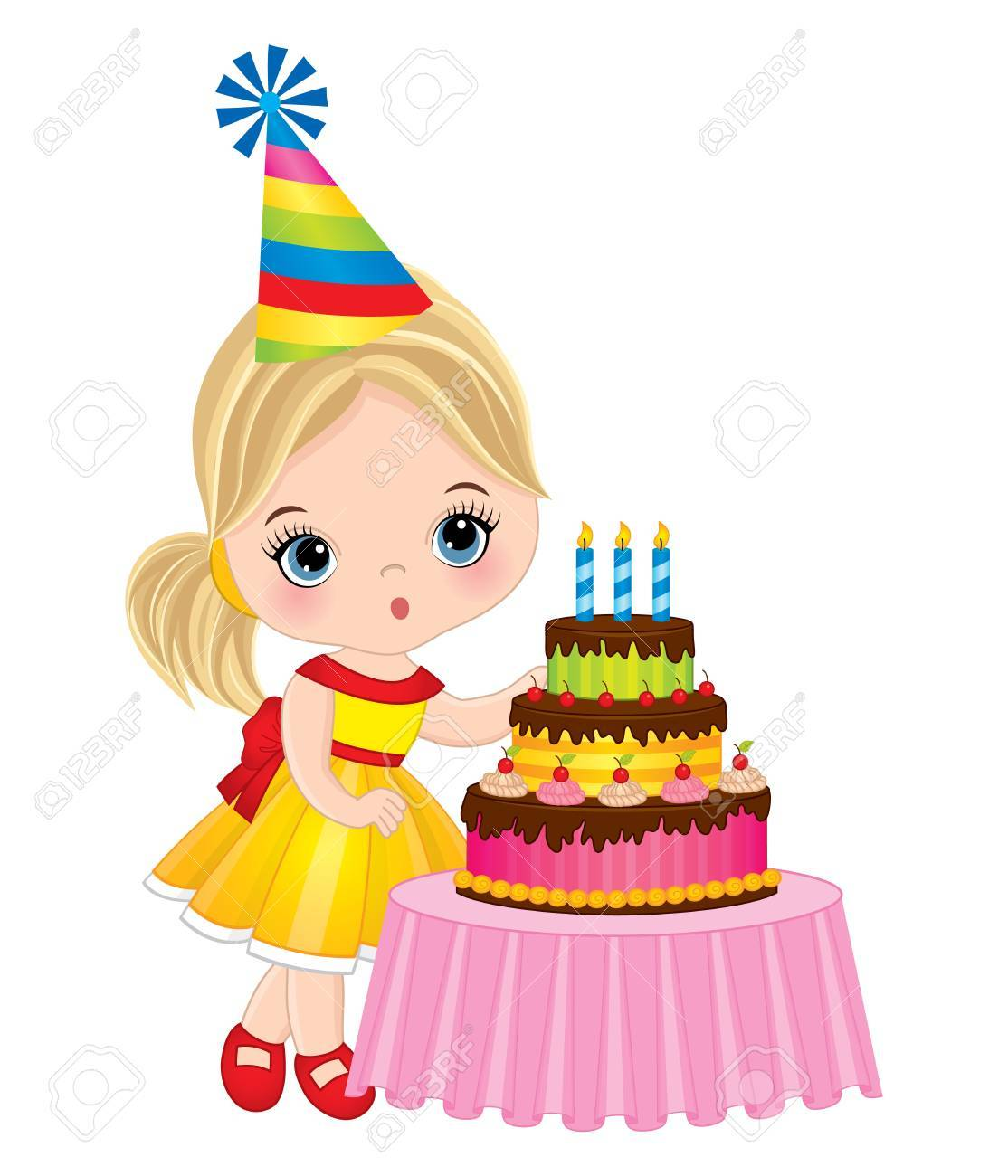 Vector Cute Little Girl Blowing Out Candles On Birthday Cake Vector