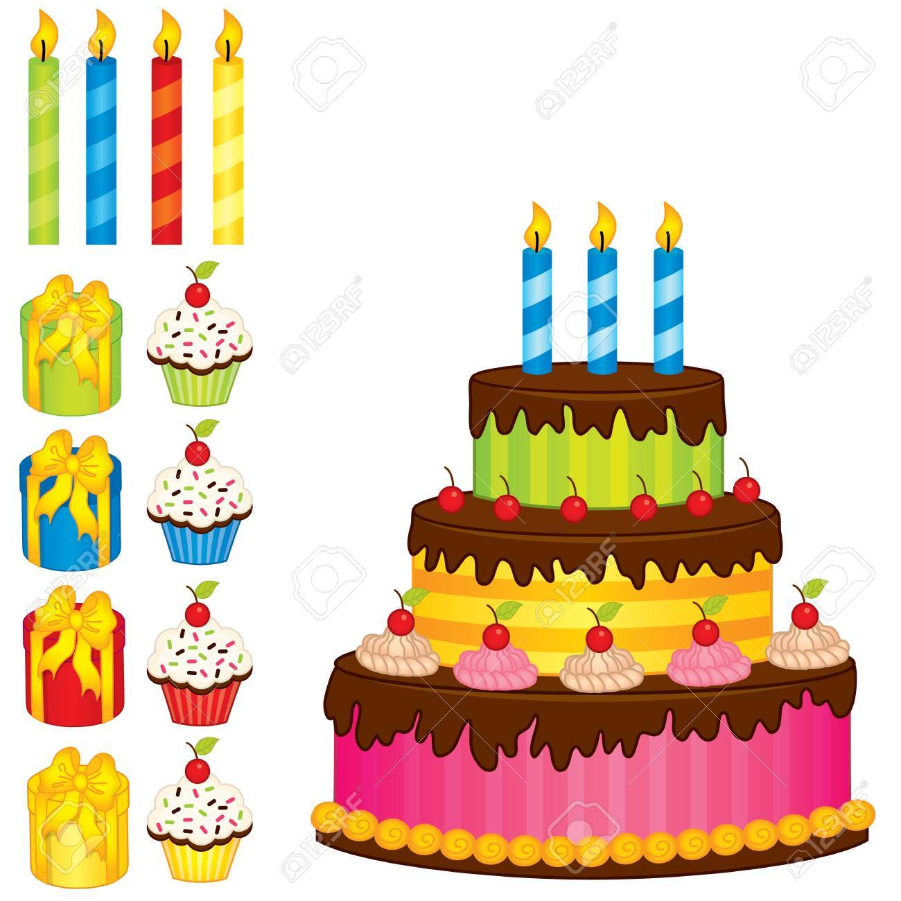 A Vector Birthday Cake Cupcakes And Gift Boxes Vector Birthday