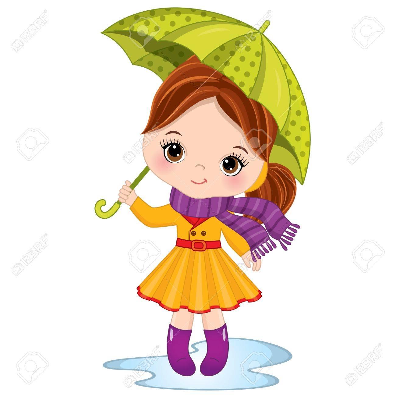 Vector Mignonne Petite Fille Tenant Le Parapluie Vector Petite Fille Portant Manteau De Pluie écharpe Et Bottes En Caoutchouc Illustration