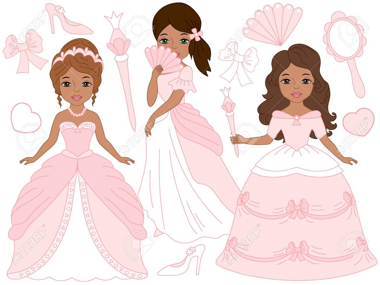 ベクターの美しいピンクのパステルでアフリカ系アメリカ人のお姫様ドレス