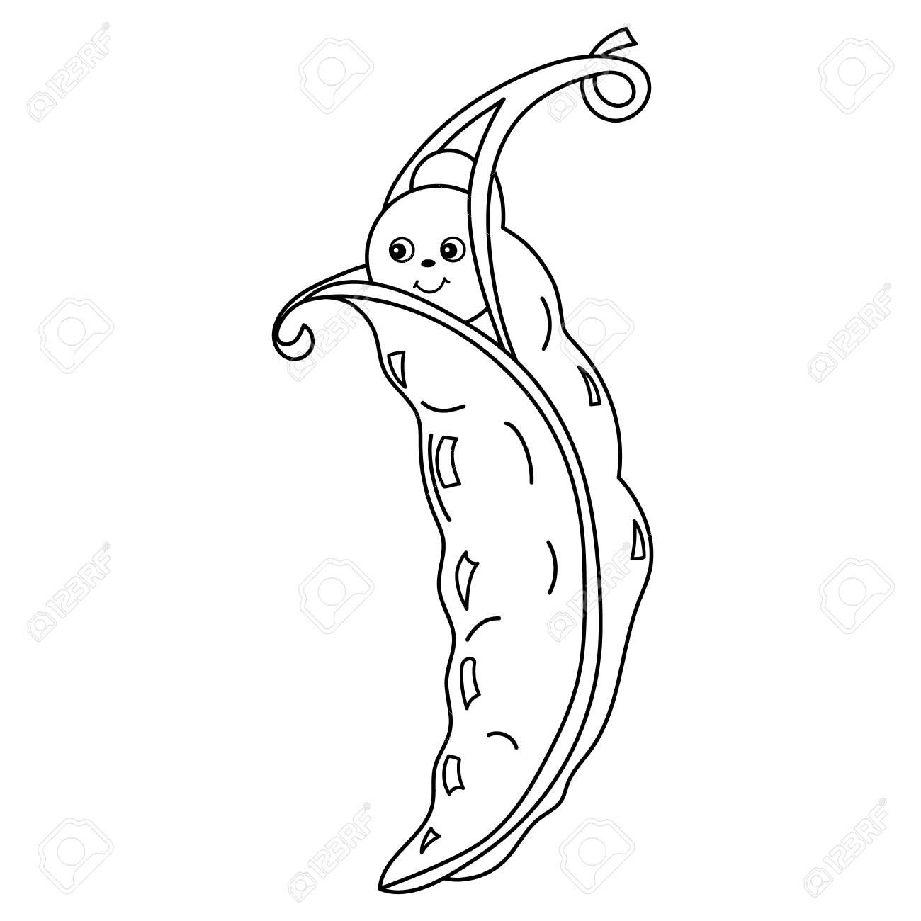 Pois De Dessin Animé Mignon Vector Noir Et Blanc Avec Visage Souriant émoticône Végétale De Vecteur Pois De Dessin Animé Vector Illustration