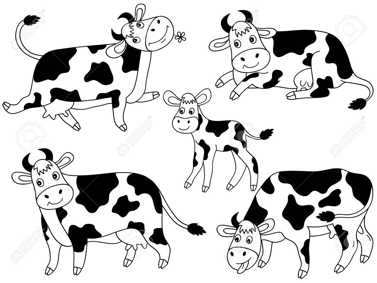 Vector Set Of Black And White Cute Cartoon Cows Cow