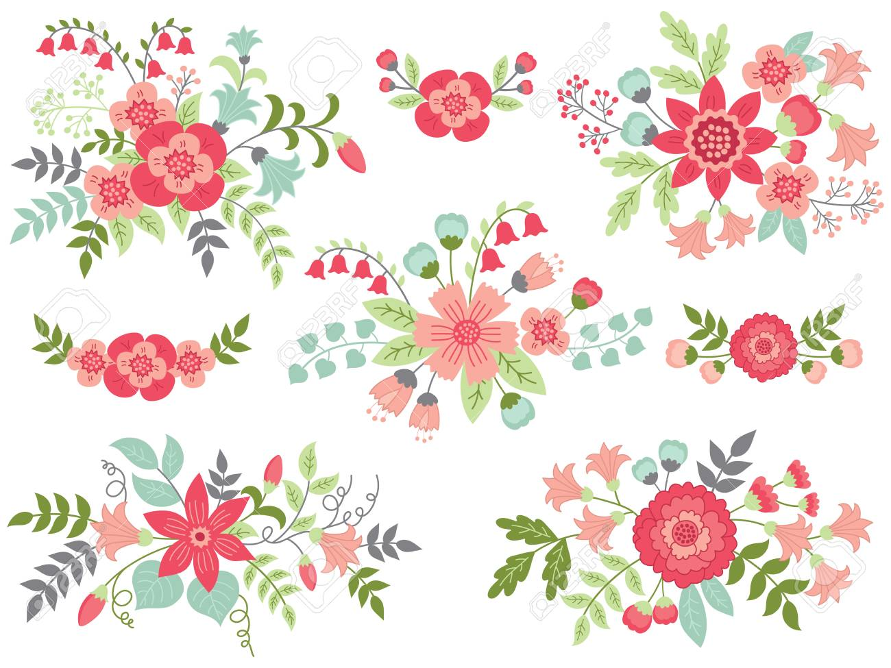 Vector Set Of Floral Bouquets Colorful Collection With Pink Flowers